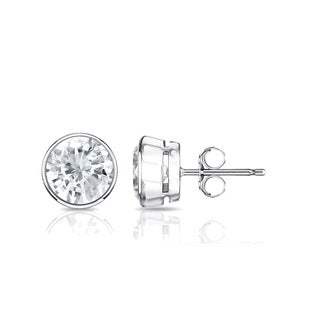 Auriya Platinum 1ctw Bezel Set Round Diamond Stud Earrings