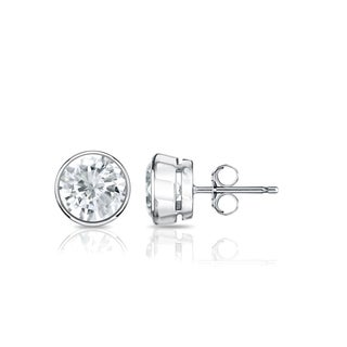 Auriya Platinum 3/4ct TDW Bezel Push-Back Round Diamond Stud Earrings (J-K, SI2-SI3)