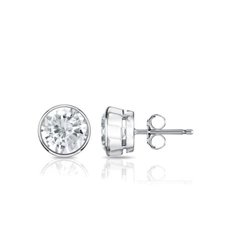 Auriya 18k Gold 3/4ctw Bezel set Round Diamond Stud Earrings