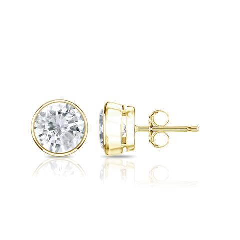 Auriya 14k Gold 1ctw Round Bezel-set Diamond Stud Earrings