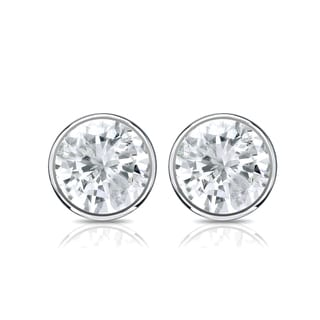 Auriya 14k Gold 1ct TDW Bezel Set Round-cut Diamond Solitaire Stud Earrings
