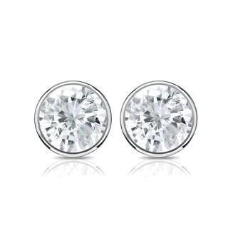 Auriya 14k Gold 1ct TDW Bezel Set Round-cut Diamond Solitaire Stud Earrings