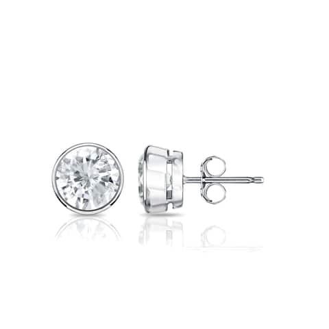 Auriya 14k Gold 3/4ctw Round Bezel-set Diamond Stud Earrings