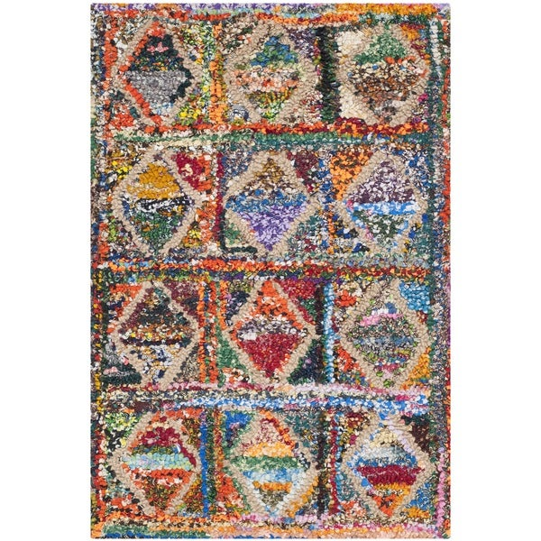 Safavieh Handmade Nantucket Modern Abstract Multicolored Cotton Rug (2' 3 x 4') - 2' 3 x 4'