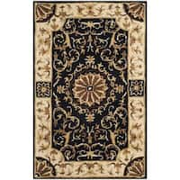 Safavieh Hand-Tufted Empire Black/ Ivory Wool Rug - 2'6 x 4'