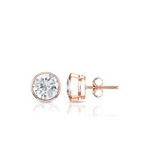14K Gold Round 1/2ct TDW Bezel Set Diamond Stud Earrings by Auriya - White J-K