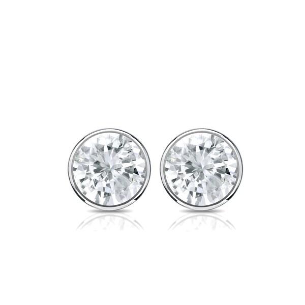 24866e04572 Shop Auriya Round Diamond Stud Earrings 0.50 carat TW Bezel Set 14k ...