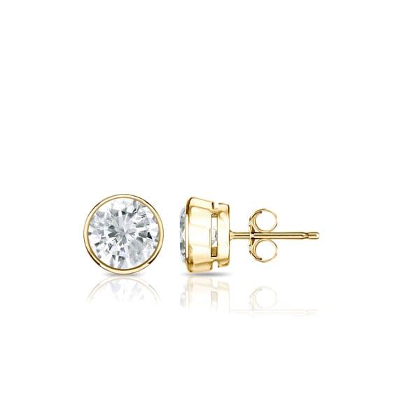 Auriya 14k Gold 1/2ctw Round Bezel-set Diamond Stud Earrings. Opens flyout.