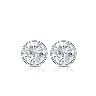 Auriya 14k Gold 1/2ct TDW Bezel Push-Back Round Diamond Stud Earrings (J-K, SI2-SI3)