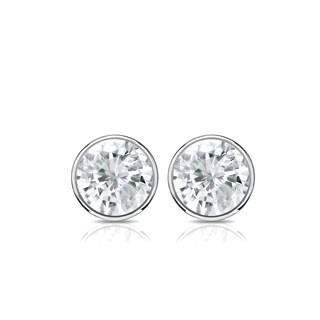 14K Gold 1/2ct TDW Round Bezel Diamond Stud Earrings by Auriya - White J-K
