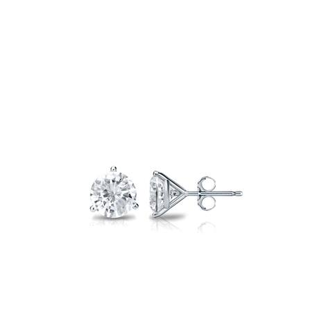 Auriya Platinum Round Diamond Stud Earrings 1/4ctw Martini-set