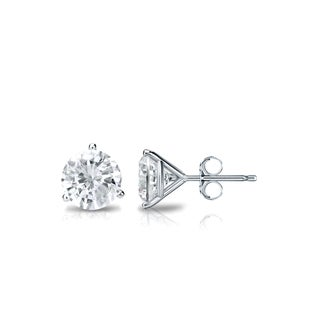 Auriya 18k Gold 3/5ct TDW 3-Prong Push-Back Round Diamond Stud Earrings (J-K, SI2-SI3)