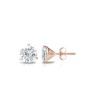 14k Gold 1/2ct TDW Round Three Prong Martini Diamond Stud Earrings by Auriya - White J-K