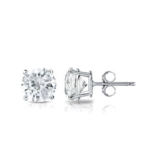 Auriya Platinum 1ct TDW 4-Prong Push-Back Round Diamond Stud Earrings (J-K, SI2-SI3)