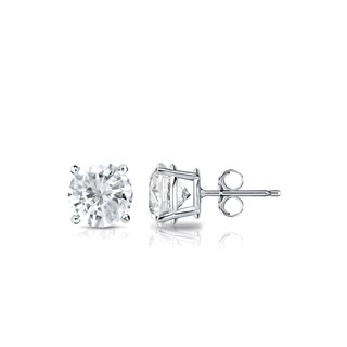 Auriya Platinum 3/5ct TDW 4-Prong Push-Back Round Diamond Stud Earrings (J-K, SI2-SI3)