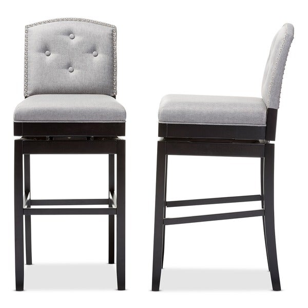 Traditional Grey Fabric Bar Stool by Baxton Studio - Free Shipping Today - Overstock.com - 17938568  sc 1 st  Overstock.com & Traditional Grey Fabric Bar Stool by Baxton Studio - Free Shipping ... islam-shia.org