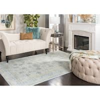 Safavieh Valencia Light Blue/ Turquoise Distressed Silky Polyester Rug - 4' x 6'