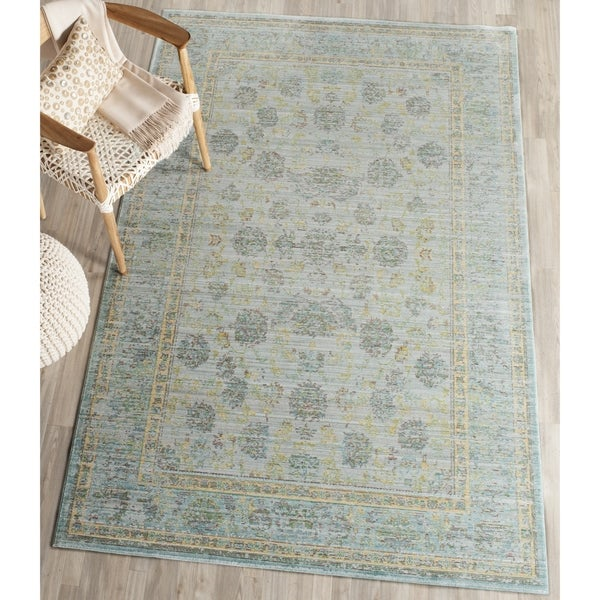 Safavieh Valencia Light Blue/ Turquoise Distressed Silky Polyester Rug (4' x 6')