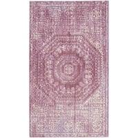 Safavieh Valencia Fuchsia/ Cream Center Medallion Distressed Silky Polyester Rug - 4' x 6'