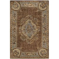 Safavieh Hand-Tufted Empire Blue/ Brown Wool Rug - 5' x 8'