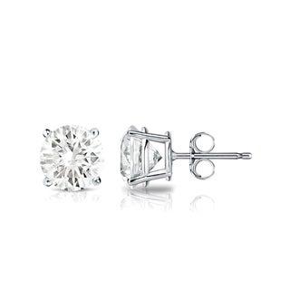 Auriya 14k Gold 1ct TDW 4-Prong Push-Back Round Diamond Stud Earrings (J-K, SI2-SI3)
