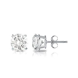 14k Gold 3/4ct TDW Round Solitaire Diamond Stud Earrings by Auriya - White J-K