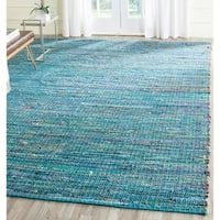 Safavieh Handmade Nantucket Green Multicolored Cotton Rug - 5' x 8'