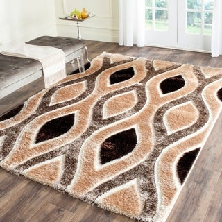 Safavieh Miami Shag Contemporary Silken-Embossed Ogee Beige/ Brown Rug (5'3 x 7'6)