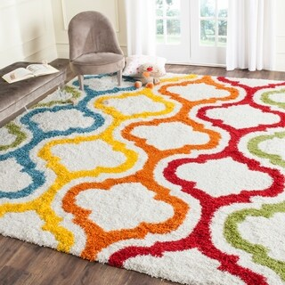Safavieh Kids Shag Ivory/ Multi Rainbow Rug (5'3 x 7'6)