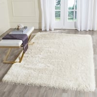 Safavieh Handmade Plush Memory Foam Shag Ivory Polyester Rug - 5' x 8'