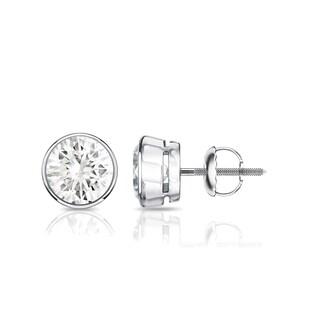 14K Gold 1ct TDW Bezel Set Round Diamond Stud Earrings by Auriya - White J-K