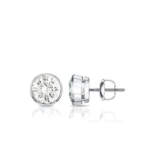 Auriya 14k Gold 3 5ctw Bezel Set Round Diamond Stud Earrings