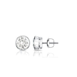 Auriya 14k Gold 1/2ct TDW Bezel Screw-Back Round Diamond Stud Earrings (J-K, SI1-SI2)