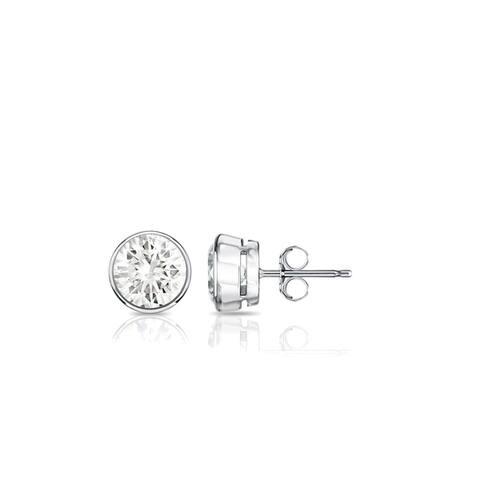 Auriya 14k Gold 1/3ctw Round Bezel-set Diamond Stud Earrings