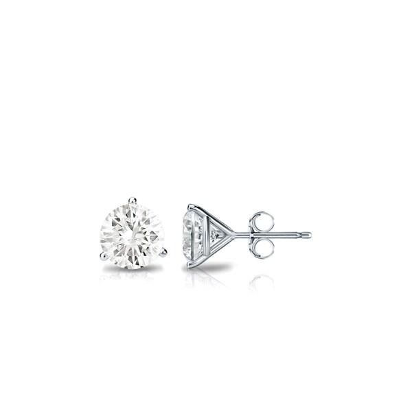 496ed43c3 Platinum Round 1/3ct TDW Three Prong Martini Diamond Stud Earrings by  Auriya - White