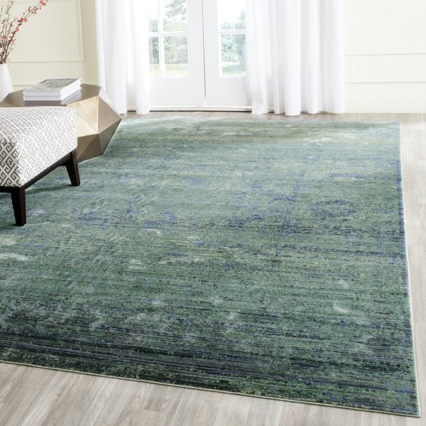 Safavieh Mystique Watercolor Green/ Multi Silky Rug (5' x 8')