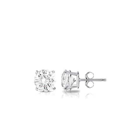 Auriya Platinum 1/3ctw Round Solitaire Diamond Stud Earrings