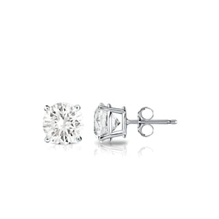 Auriya Platinum 3/5ct TDW 4-Prong Push-Back Round Diamond Stud Earrings (J-K, SI1-SI2)