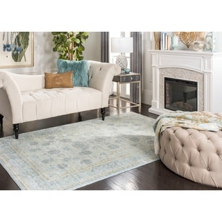 Safavieh Valencia Light Blue/ Turquoise Distressed Silky Polyester Rug (5' x 8')