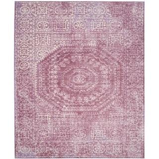 Safavieh Valencia Fuchsia/ Cream Center Medallion Distressed Silky Polyester Rug (5' x 8')