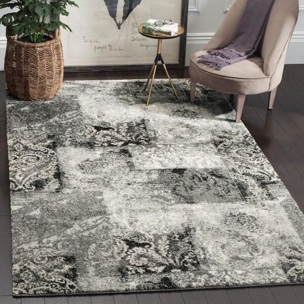 Safavieh Retro Modern Abstract Damask Cream/ Grey Distressed Rug (6' x 9')