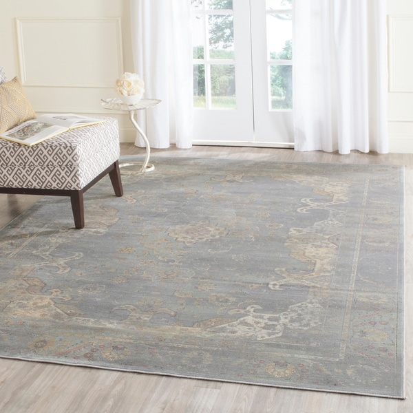 Safavieh Vintage Oriental Grey/ Multi Distressed Silky Viscose Rug - 6'7 x 9'2