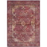 Safavieh Vintage Oriental Purple/ Fuchsia Distressed Silky Viscose Rug (6'7 x 9'2)