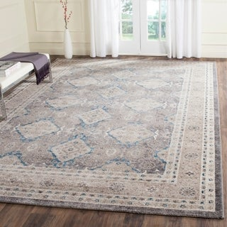 Safavieh Sofia Vintage Diamond Light Grey / Beige Distressed Rug (6'7 x 9'2)