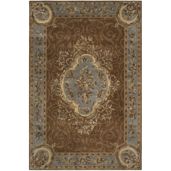 Safavieh Hand-Tufted Empire Blue/ Brown Wool Rug - 7'6 x 9'6