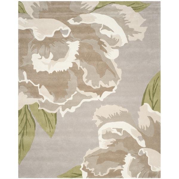 Isaac Mizrahi by Safavieh Handmade Floral Light Grey/ Ivory Wool Rug - 8' x 10'