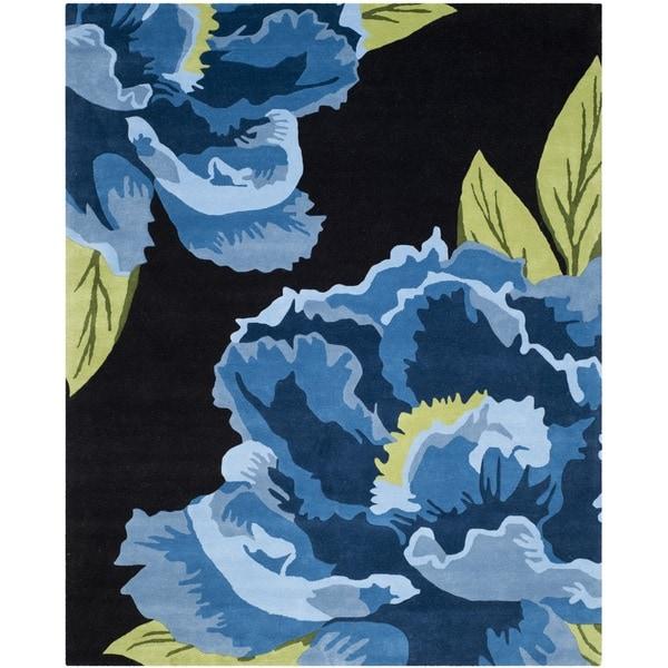 Isaac Mizrahi by Safavieh Handmade Floral Black/ Blue Wool Rug - 8' x 10'