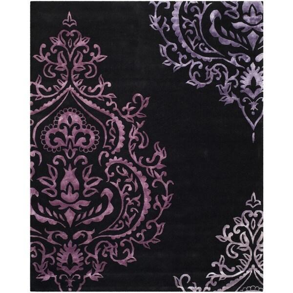 Isaac Mizrahi by Safavieh Handmade Damask Black/ Purple Wool Rug - 8' x 10'