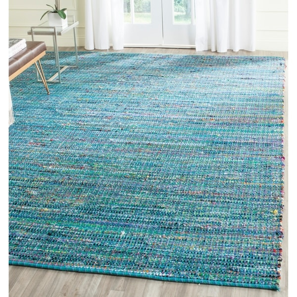 Safavieh Handmade Nantucket Blue Multicolored Cotton Rug - 8' x 10'