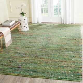 Safavieh Handmade Nantucket Green Multicolored Cotton Rug (8' x 10')